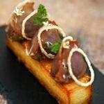 Pressé de Blue Belle, compotée d'oignons de Roscoff et bacon - Chef Loïc Le Bail ©B.Galéron/Germicopa