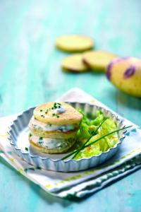 Pancakes-de-Blue-Belle-yaourt-à-la-grecque-et-ciboulette © F.Schmitt-Germicopa